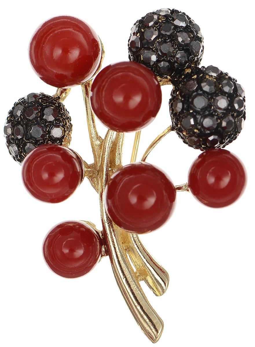 Брошь Selena Street Fashion, цвет: золотистый, красный, черный. 3002679030026790Оригинальная брошь Selena Street Fashion изготовлена из латуни с золотистым покрытием. Брошь украшена кристаллами Preciosa и покрыта эмалью. Изделие крепится с помощью замка-булавки. Такая брошь позволит вам с легкостью воплотить самую смелую фантазию и создать собственный неповторимый образ.