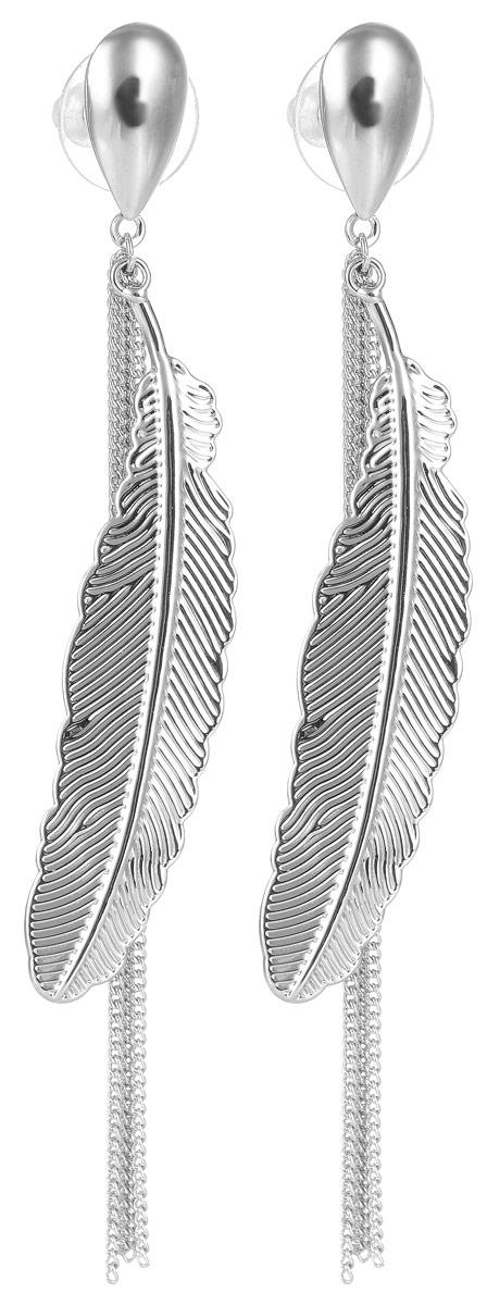Серьги Selena Street Fashion, цвет: серебристый. 2008944020089440Оригинальные серьги Selena Street Fashion изготовлены из металла с родиевым покрытием. Серьги, выполненные в форме капли, дополнены подвесками из цепочек и в форме пера. Застегиваются серьги на замок-гвоздик с заглушками. Такие серьги будут оригинальным дополнением вашего образа.