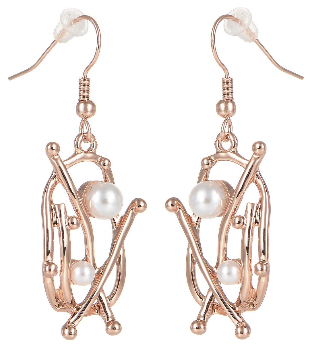 Серьги жен. Selena Селена Street Fashion, цвет: белый, золотистый. 2008937020089370Искусственный жемчуг. Гальваническое покрытие: золото.