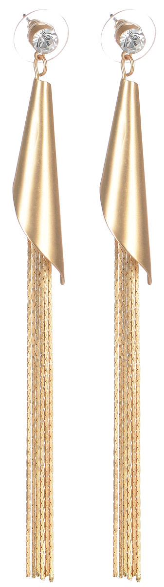 Серьги Selena Street Fashion, цвет: золотой. 2008930020089300Элегантные серьги Selena Street Fashion изготовлены из ювелирного сплава c гальваническим покрытием из золота и дополнены оригинальными подвесками. Изделие застегивается на замок-гвоздик с заглушкой. Стильные серьги помогут дополнить любой образ и привнести в него завершающий яркий штрих.