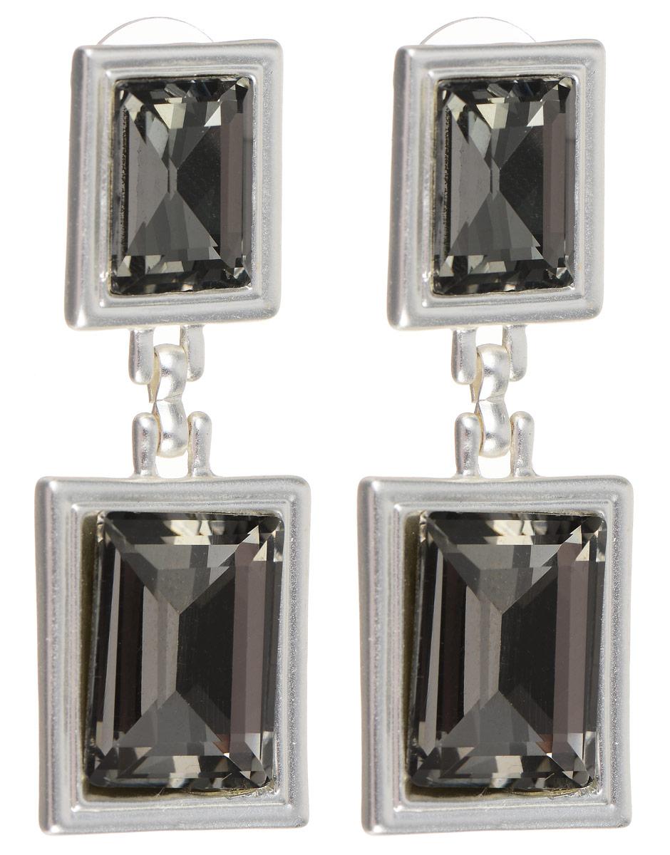 Серьги Selena Valencia, цвет: серебристый, серый. 2007700020077000Стильные серьги Selena Street Fashion изготовлены из металла с родиевым покрытием. Серьги оформлены кристаллами Preciosa. Застегиваются серьги на замок-гвоздик с заглушками. Такие серьги будут прекрасным дополнением вашего образа.