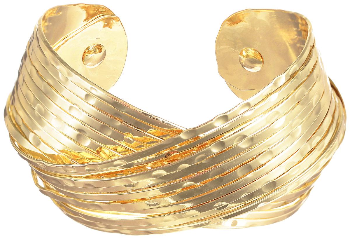 Браслет Selena Street Fashion, цвет: золотистый. 4005829040058290Стильный женский браслет Selena Street Fashion изготовлен из металла с золотистым покрытием. Браслет имеет универсальный размер, его легко надевать и снимать. Это стильное украшение станет прекрасным завершением вашего модного образа.