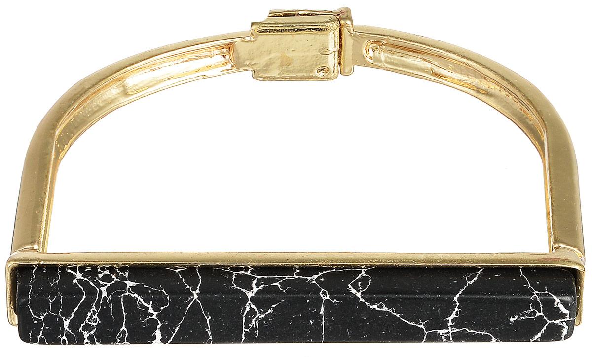 Браслет Selena Street Fashion, цвет: золотистый, черный. 4005831040058310Стильный женский браслет Selena Street Fashion изготовлен из металла с золотистым покрытием. Изделие дополнено вставкой из натурального камня говлит. Застегивается браслет на магнитный замок. Это стильное украшение станет прекрасным завершением вашего модного образа.