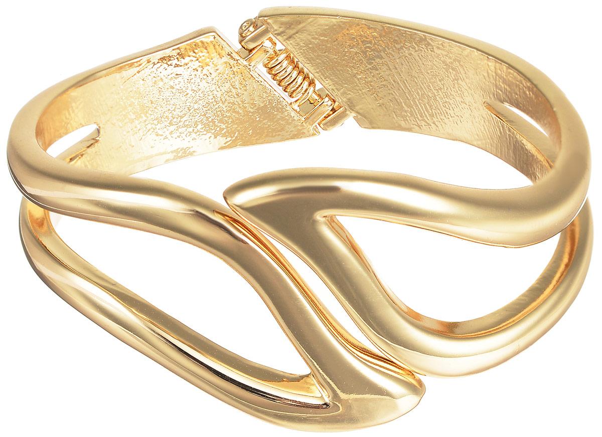 Браслет Selena Street Fashion, цвет: золотой. 4005364040053640Стильный браслет Selena Street Fashion выполнен из ювелирного сплава с гальваническим покрытием из золота. Лаконичное украшение дополнено шарнирным замком, благодаря которому удобно снимать и надевать изделие. Восхитительный браслет дополнит любой образ и привнесет в него завершающий штрих.