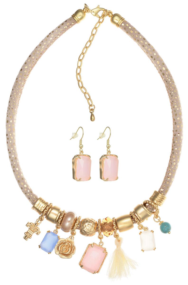 Комплект украшений Selena Valencia: ожерелье, серьги, цвет: бежевый, золотистый. 1009344210093442Оригинальный комплект украшений Selena Valencia включает в себя стильные серьги и ожерелье. Ожерелье выполнено в виде текстильного шнурка дополненного декоративными элементами, выполненными из латуни с гальваническим покрытием из золота, дополненными вставками из бирюзы и кристаллами Swarovski. Застегивается ожерелье на замок-карабин с регулирующей длину цепочкой. Серьги выполнены в едином стилевом решении с ожерельем и застегиваются на замок-петлю с силиконовой заглушкой. Стильный комплект украшений придаст вашему образу изюминку, подчеркнет красоту и изящество вечернего платья или преобразит повседневный наряд. Такой комплект позволит вам с легкостью воплотить самую смелую фантазию и создать собственный неповторимый образ.