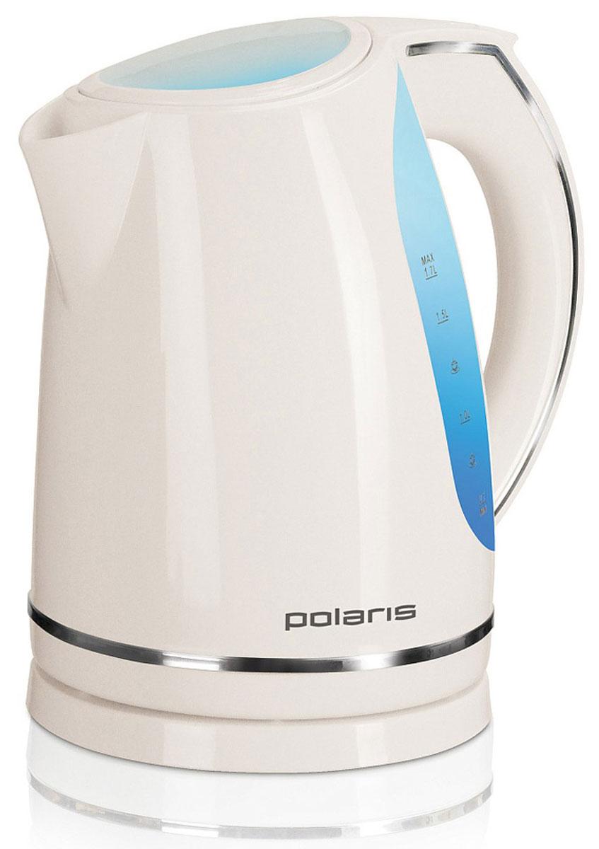 Polaris PWK 1705CL, Beige электрический чайникPWK 1705CLСовременный электрический чайник Polaris PWK 1705CL быстро вскипятит большое количество воды (1,7л). Модель удобна в использовании, имеет большие окна для проверки уровня воды и внутреннюю подсветку, которая сигнализирует о работе чайника. Чайник также оснащен отсеком для хранения шнура, а съемный фильтр позволит без труда промыть его от накипи.