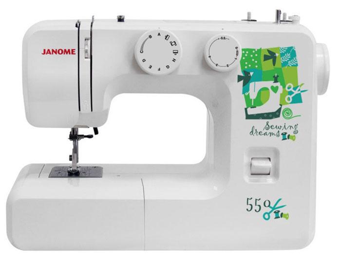 Janome 550 швейная машина550Janome 550 - отличный вариант для начинающих швей, а также для тех, кто собирается использовать машинку лишь от случая к случаю. Модель отличается доступной ценой, приятным дизайном и простотой в эксплуатации. Устройство выполняет 15 различных видов строчек, включающие в себя не только рабочие, но и декоративные. Для хранения мелких швейных принадлежностей внутри корпуса расположен специальный ящик. Кнопка реверса поможет вам надежно закрепить концы строчек. Длину и ширину стежка вы регулируете вручную, подстраиваясь под выбранный тип ткани.