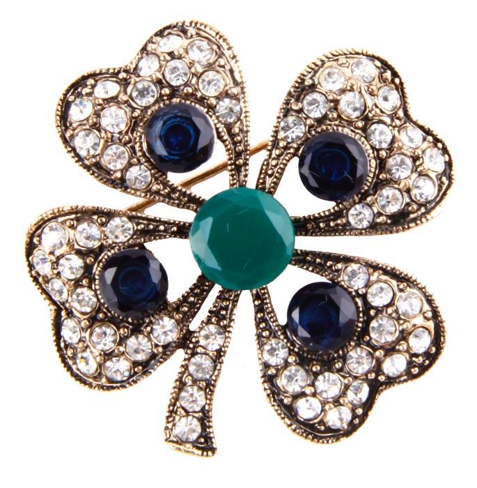 """Брошь """"Цветок"""" в византийском стиле. Бижутерный сплав, австрийские кристаллы, искусственные камни. Конец XX века"""