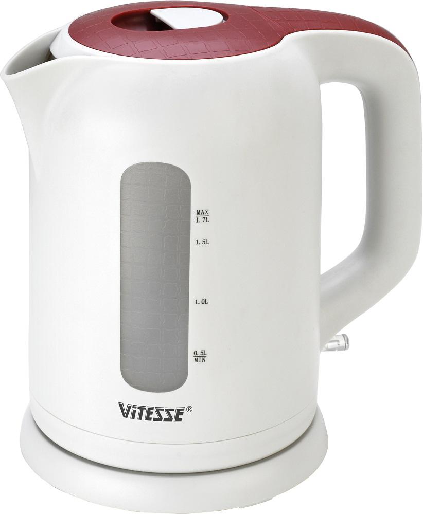 Vitesse VS-147, White Red электрический чайникVS-147Электрический чайник Vitesse VS-147 имеет мощность в 2200 Вт, что позволяет быстро вскипятить воду объемом до 1,7 л. Прибор автоматически выключится после закипания воды благодаря соответствующей функции, продлевающей срок его эксплуатации. При отсутствии воды в чайнике будет задействована другая полезная функция - блокировка включения без воды. Кипячение и подогрев воды происходит за счет работы закрытой спирали, гарантирующей отсутствие накипи и более продолжительный срок службы. Этот нагревательный элемент позволяет устанавливать чайник на подставку и вращать его в любом положении. Модель также имеет съемный фильтр, световую индикацию включения и шкалу уровня воды.
