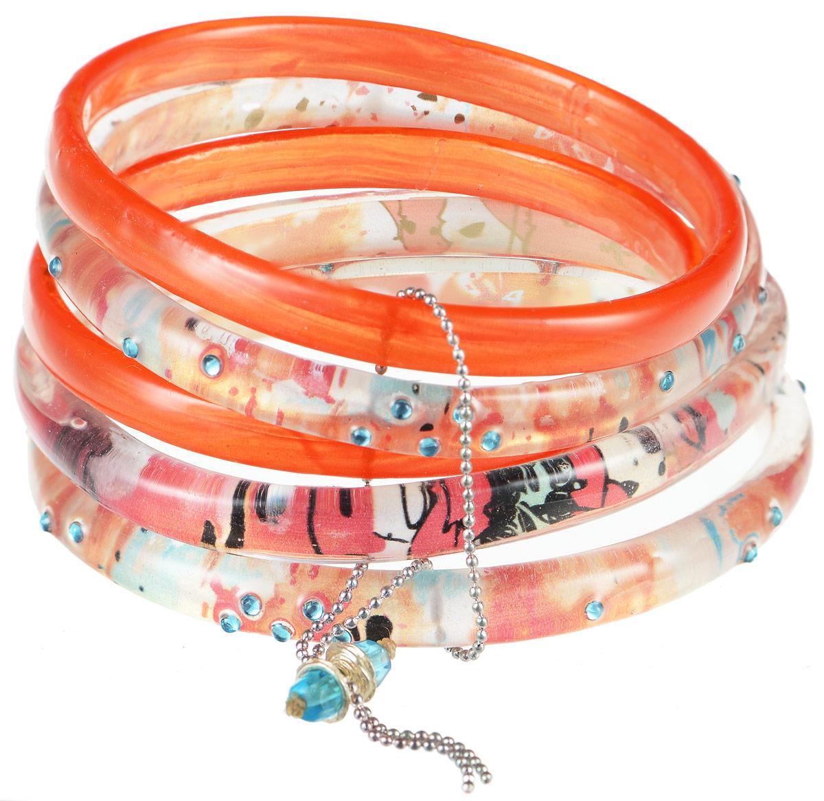 Браслет Lalo Treasures Row, цвет: оранжевый. Bn2509-1Bn2509-1Яркое комбинированное украшение Lalo Treasures Row включает пять браслетов, выполненных из ювелирной смолы. Изделия оформлены стразами и оригинальными орнаментами. Стильное украшение поможет дополнить любой образ и привнести в него завершающий яркий штрих.