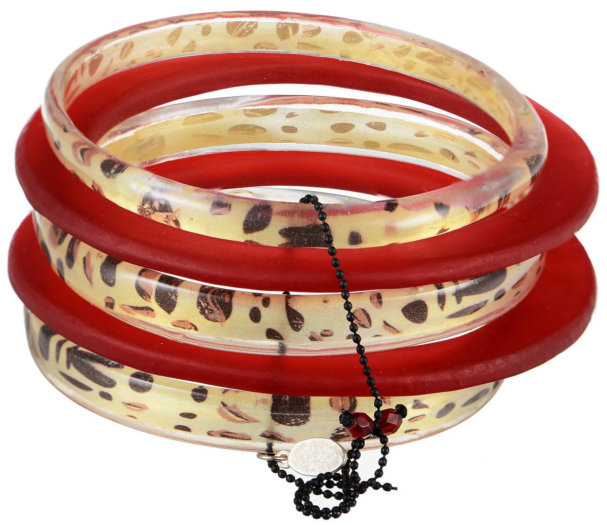 Браслет Lalo Treasures Precious Moments, цвет: красный, золотистый. B2447-3B2447-3Яркое комбинированное украшение Lalo Treasures Precious Moments включает пять браслетов, выполненных из ювелирной смолы с глянцевой и матовой поверхностью. Изделия оформлены анималистическим принтом. Стильный браслет поможет дополнить любой образ и привнести в него завершающий яркий штрих.