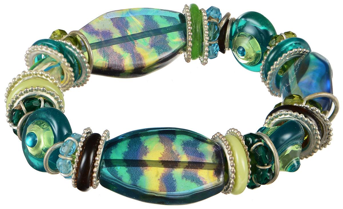 Браслет Lalo Treasures Row, цвет: зеленый, синий. B2502-1B2502-1Оригинальный браслет Lalo Treasures Row выполнен из ювелирной смолы и металлического сплава. Декоративные элементы собраны на эластичной основе, которая делает размер изделия универсальным и позволит браслету идеально разместиться на запястье. Стильное украшение поможет дополнить любой образ и привнести в него завершающий яркий штрих.
