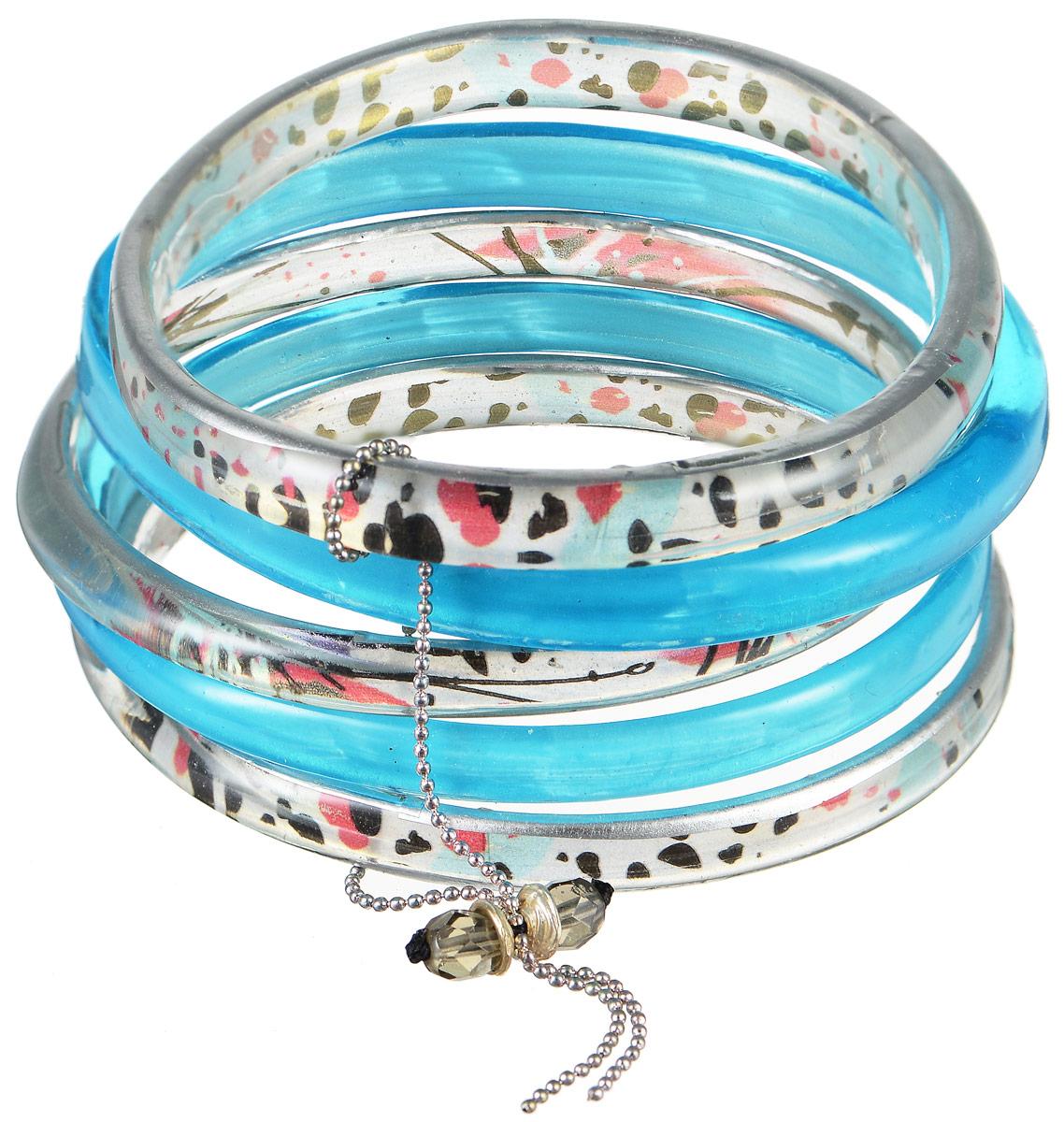 Браслет Lalo Treasures Row, цвет: голубой, серебристый. Bn2509-2Bn2509-2Яркое комбинированное украшение Lalo Treasures Row включает пять браслетов, выполненных из ювелирной смолы. Изделия оформлены оригинальными орнаментами. Стильное украшение поможет дополнить любой образ и привнести в него завершающий яркий штрих.
