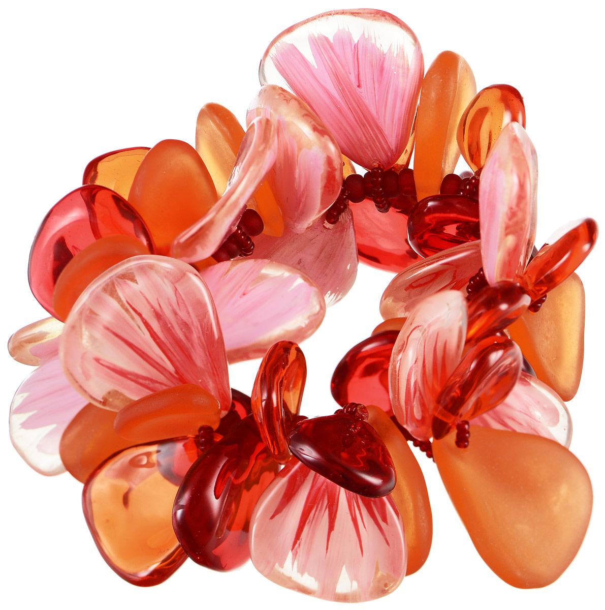 Браслет Lalo Treasures Me & the Others, цвет: красный, розовый, оранжевый. B2430B2430Оригинальный браслет Lalo Treasures Me & the Others выполнен из ювелирной смолы. Декоративные элементы в форме лепестков собраны на эластичной основе, которая делает размер изделия универсальным и позволит браслету идеально разместиться на запястье. Стильное украшение поможет дополнить любой образ и привнести в него завершающий яркий штрих.