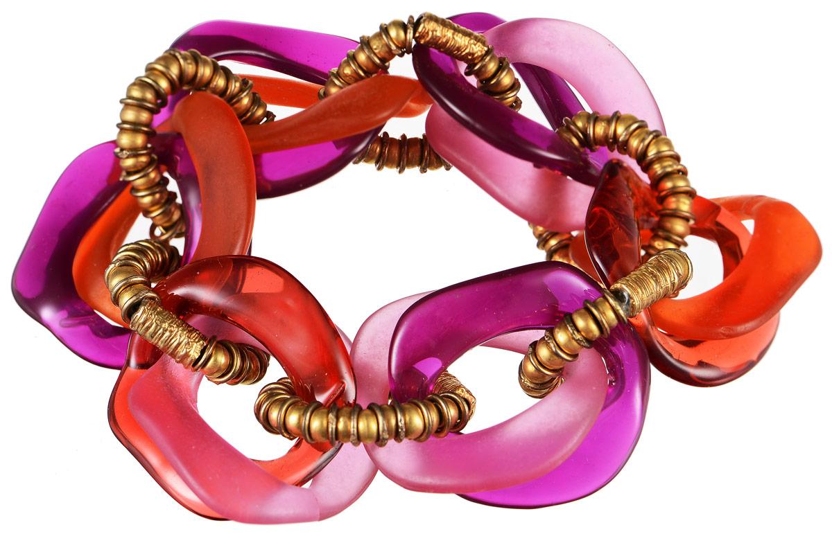 Браслет Lalo Treasures Future Currents V, цвет: сиреневый, красный, розовый. B2530B2530Оригинальный браслет Lalo Treasures Future Currents V выполнен из ювелирной смолы и металлического сплава. Декоративные элементы собраны на эластичной основе, которая делает размер изделия универсальным и позволит браслету идеально разместиться на запястье. Стильное украшение поможет дополнить любой образ и привнести в него завершающий яркий штрих.