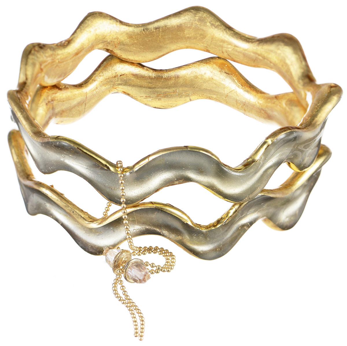 Браслет Lalo Treasures Transcend II, цвет: золотой, серый. Bn2521-1Bn2521-1Яркое комбинированное украшение Lalo Treasures Transcend II включает два оригинальных браслета волнообразной формы, изготовленных из ювелирной смолы. Стильное украшение поможет дополнить любой образ и привнести в него завершающий яркий штрих.