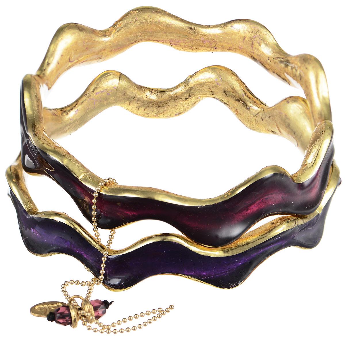 Браслет Lalo Treasures Future Currents II, цвет: золотой, фиолетовый. Bn2528-3Bn2528-3Яркое комбинированное украшение Lalo Treasures Future Currents II включает два оригинальных браслета волнообразной формы, изготовленных из ювелирной смолы. Стильное украшение поможет дополнить любой образ и привнести в него завершающий яркий штрих.