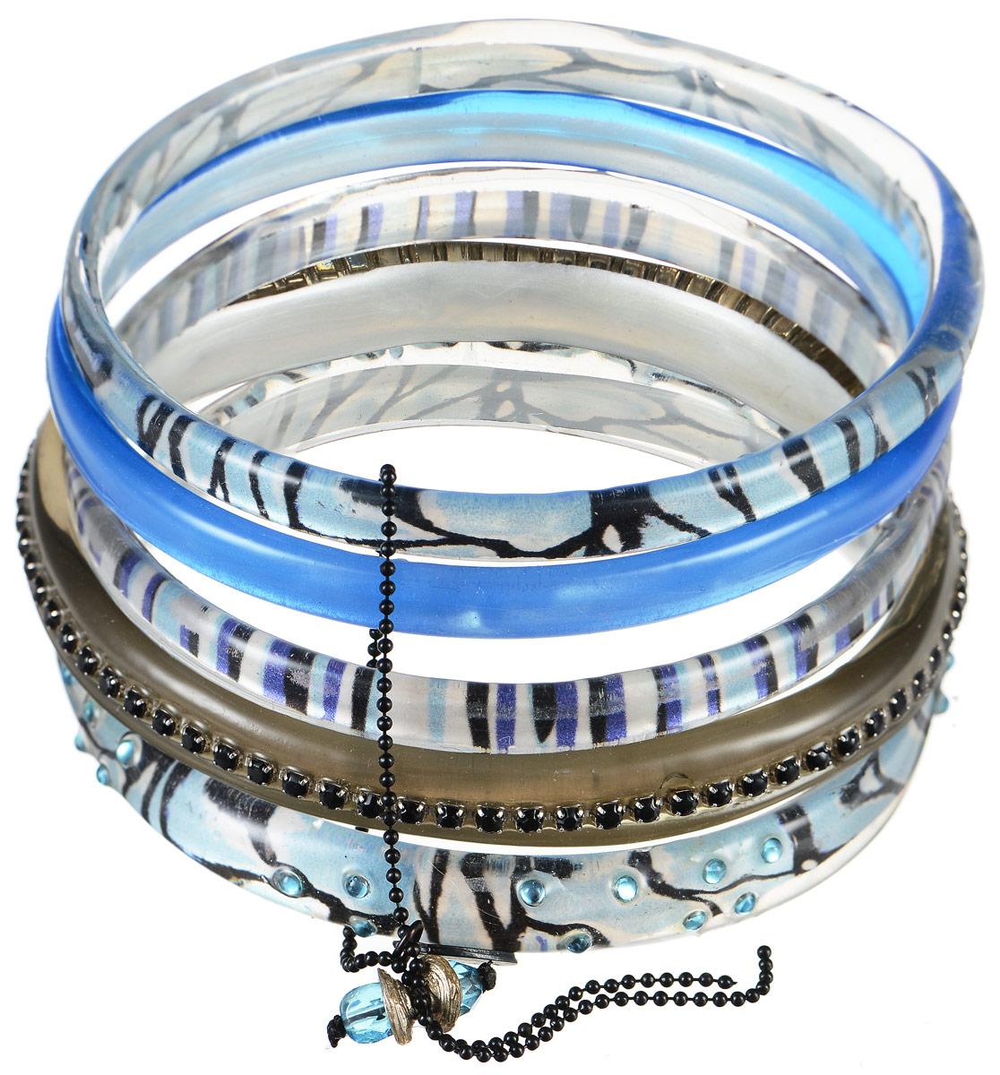 Браслет Lalo Treasures Row, цвет: голубой, серый. Bn2500Bn2500Яркое комбинированное украшение Lalo Treasures Row включает пять браслетов, выполненных из ювелирной смолы. Изделия оформлены стразами и оригинальными орнаментами. Стильное украшение поможет дополнить любой образ и привнести в него завершающий яркий штрих.