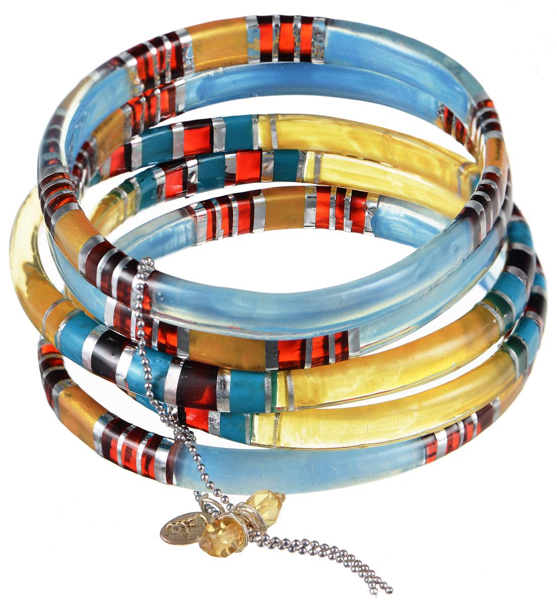 Браслет Lalo Treasures Row, цвет: голубой, желтый, красный. Bn2505Bn2505Яркое комбинированное украшение Lalo Treasures Row включает пять браслетов, изготовленных из ювелирной смолы. Стильное украшение поможет дополнить любой образ и привнести в него завершающий яркий штрих.
