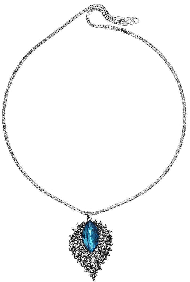 Кулон Mitya Veselkov Листок с камнем, цвет: темно-серый, голубой. PDV-42PDV-42Оригинальный кулон Mitya Veselkov изготовлен из качественного металла. Декоративная часть кулона выполнена в виде лепестка с кристаллом, украшенного стразами. Изделие застегивается с помощью замка-карабина. Интересный дизайн кулона дополнит ваш образ и добавит оригинальности.