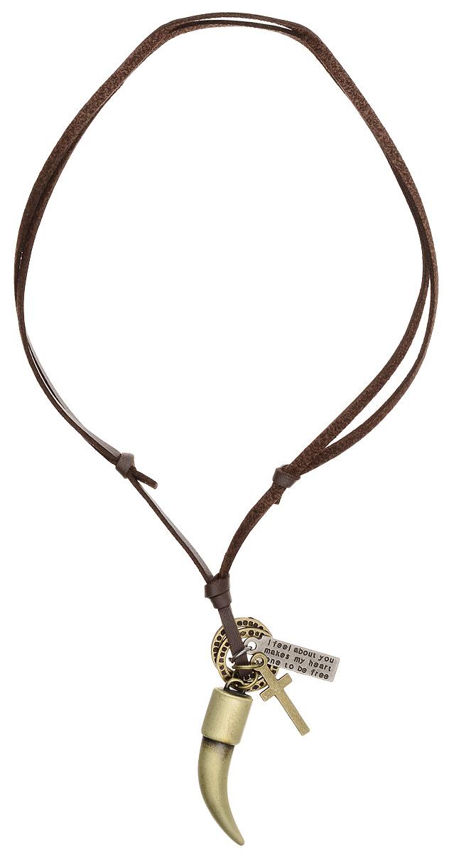 """Кулон Mitya Veselkov """"Клык и крест"""", цвет: темно-коричневый, бронзовый. PDV-135"""