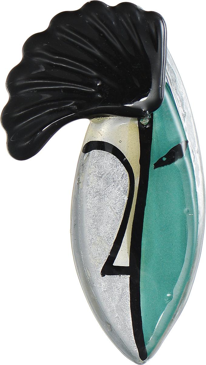 Брошь Lalo Treasures Woc, цвет: черный, серебряный, зеленый. 17691769Яркая дизайнерская брошь от Lalo Treasures станет отличным дополнением к вашему стилю. Модель изготовлена из качественной ювелирной смолы и металлического сплава. Данная брошь выполнена в виде фигурки рыбки с рисунком. Брошь надежно и легко фиксируется на вашей одежде с помощью замка-булавки. Оригинальный дизайн позволит вашему образу быть ещё ярче и создать собственный неповторимый стиль.