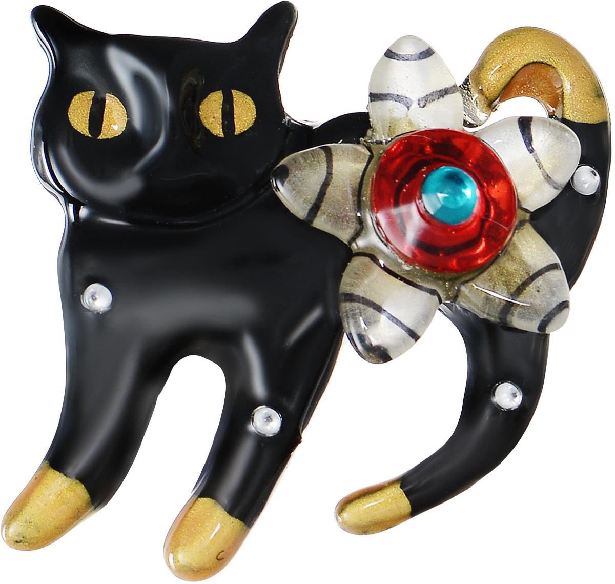 Брошь Lalo Treasures Black Cat, цвет: черный. 16941694Яркая дизайнерская брошь от Lalo Treasures станет отличным дополнением к вашему стилю. Она изготовлена из качественной ювелирной смолы и металлического сплава. Данная брошь выполнена в виде черной кошки, украшенной стразами и цветком. Брошь надежно и легко фиксируется на вашей одежде с помощью замка-булавки. Оригинальный дизайн позволит вашему образу быть ещё ярче и создать собственный неповторимый стиль.
