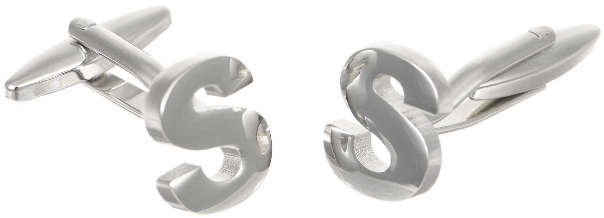 Запонки мужские Mitya Veselkov Буква S, цвет: серебряный. ZAP-203ZAP-203Запонки современного дизайна Mitya Veselkov Буква S изготовлены из металлического сплава. Изделие застегивается на вращающийся штырек. Данная модель представлена в виде английской буквы S. Стильный аксессуар подчеркнет ваш образ, а также придаст элегантность и неповторимость имиджу.