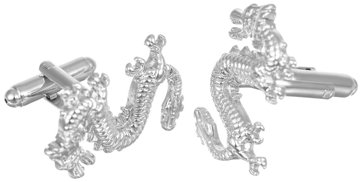 Запонки мужские Mitya Veselkov Драконы, цвет: серебряный. ZAP-279ZAP-279Запонки современного дизайна Mitya Veselkov Драконы изготовлены из металлического сплава. Изделие застегивается на вращающийся штырек. Данная модель представлена в виде фигурки китайского дракона. Стильный аксессуар подчеркнет ваш образ, а также придаст элегантность и неповторимость имиджу.