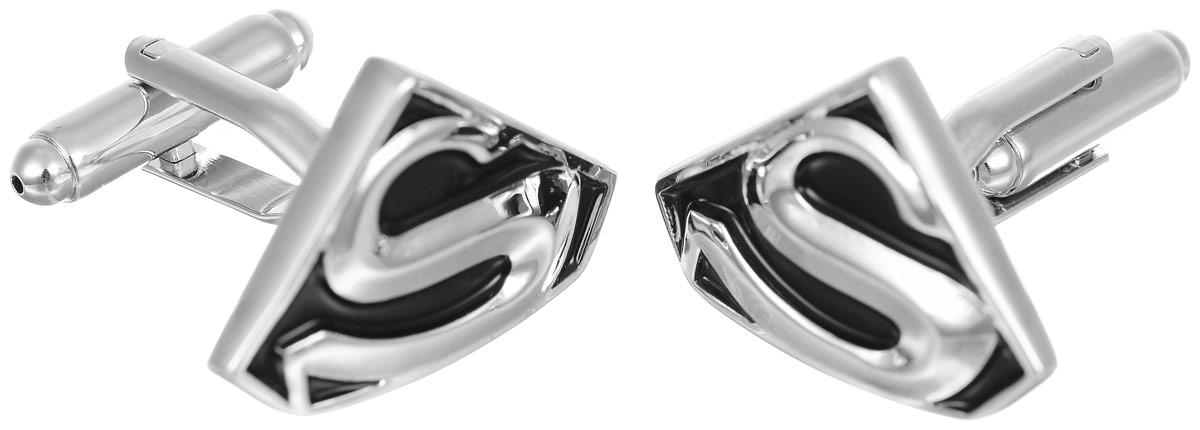 Запонки мужские Mitya Veselkov Superman, цвет: серебряный, черный. ZAP-034ZAP-034Запонки современного дизайна Mitya Veselkov Superman изготовлены из металлического сплава. Изделие застегивается на вращающийся штырек. Данная модель представлена в виде значка супермена. Стильный аксессуар подчеркнет ваш образ, а также придаст элегантность и неповторимость имиджу.
