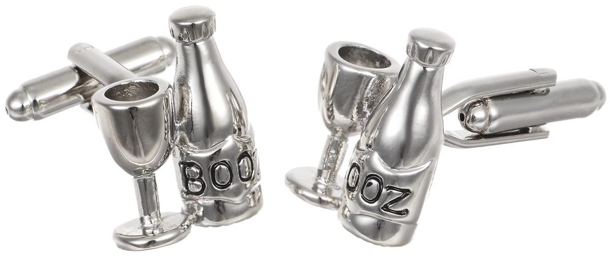 Запонки мужские Mitya Veselkov Booze, цвет: серебряный. ZAP-080ZAP-080Запонки современного дизайна Mitya Veselkov Booze изготовлены из металлического сплава. Изделие застегивается на вращающийся штырек. Данная модель представлена в виде бутылки с надписью Booz и бокала . Стильный аксессуар подчеркнет ваш образ, а также придаст элегантность и неповторимость имиджу.