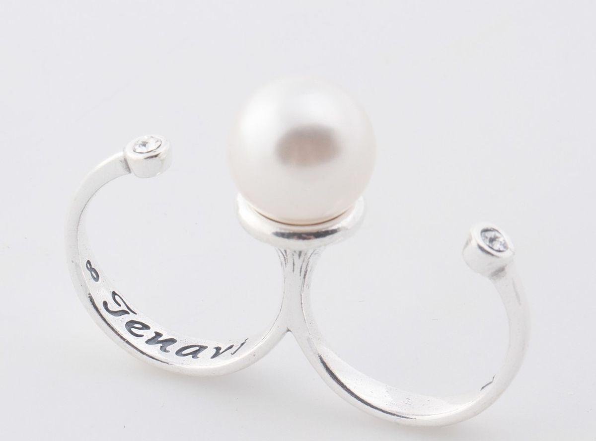 Jenavi, Коллекция Триада, Эпасэ (Кольцо), цвет - серебро, белый, размер - 20f69330h0Коллекция Триада, Эпасэ (Кольцо) гипоаллергенный ювелирный сплав,Черненое серебро, вставка Жемчуг Swarovski, цвет - серебро, белый, размер - 20