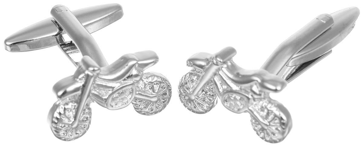 Запонки мужские Mitya Veselkov Мотоциклы, цвет: серебряный. ZAP-146ZAP-146Запонки современного дизайна Mitya Veselkov Мотоциклы изготовлены из металлического сплава. Изделие застегивается на вращающийся штырек. Данная модель представлена в виде мотоцикла. Стильный аксессуар подчеркнет ваш образ, а также придаст элегантность и неповторимость имиджу.
