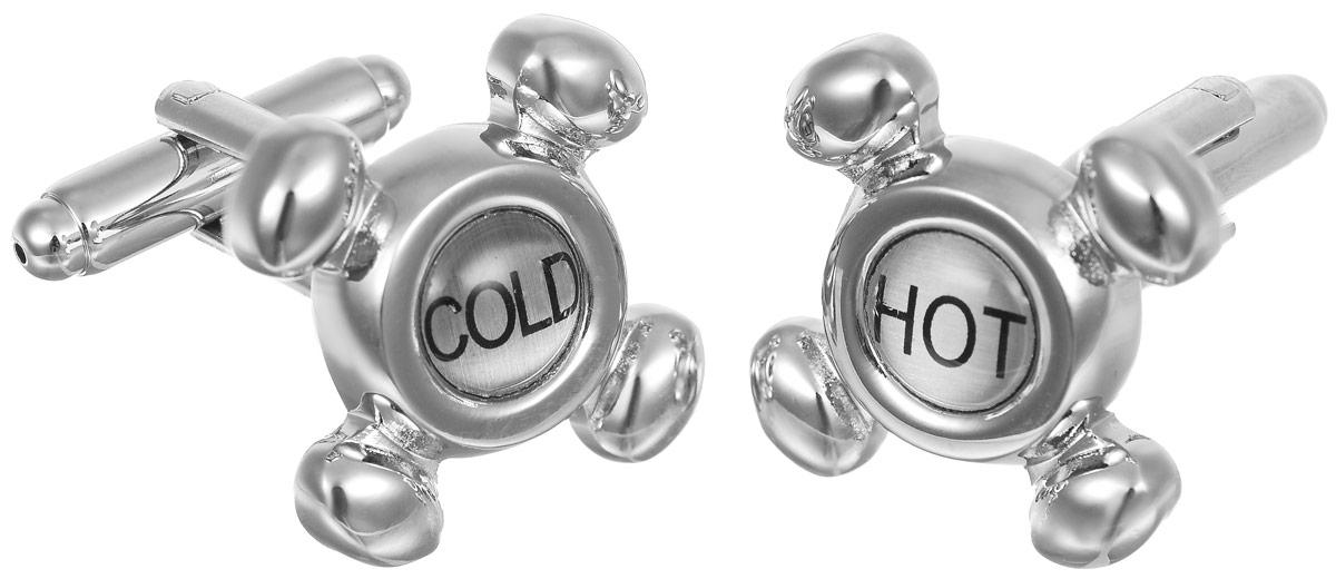 Запонки мужские Mitya Veselkov Hot-Cold, цвет: серебряный. ZAP-028ZAP-028Запонки современного дизайна Mitya Veselkov Hot-Cold изготовлены из металлического сплава. Изделие застегивается на вращающийся штырек. Данная модель представлена в виде барашек для кранов с надписями Cold и Hot. Стильный аксессуар подчеркнет ваш образ, а также придаст элегантность и неповторимость имиджу.