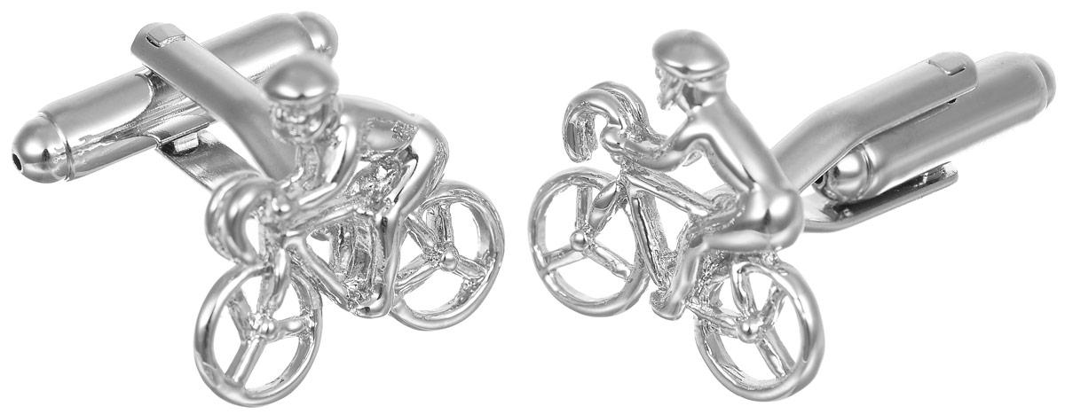 Запонки мужские Mitya Veselkov Велосипеды, цвет: серебряный. ZAP-286ZAP-286Запонки современного дизайна Mitya Veselkov Велосипеды изготовлены из металлического сплава. Изделие застегивается на вращающийся штырек. Данная модель представлена в виде фигурки человека на велосипеде. Стильный аксессуар подчеркнет ваш образ, а также придаст элегантность и неповторимость имиджу.