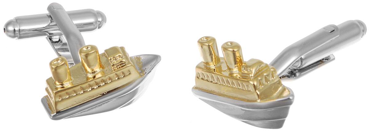 Запонки мужские Mitya Veselkov Корабли, цвет: серебряный, золотой. ZAP-135ZAP-135Запонки современного дизайна Mitya Veselkov Корабли изготовлены из металлического сплава. Изделие застегивается на вращающийся штырек. Данная модель представлена в виде модели корабля. Стильный аксессуар подчеркнет ваш образ, а также придаст элегантность и неповторимость имиджу.