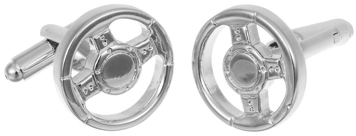 Запонки мужские Mitya Veselkov Автомобильный руль, цвет: серебряный. ZAP-143ZAP-143Запонки современного дизайна Mitya Veselkov Автомобильный руль изготовлены из металлического сплава. Изделие застегивается на вращающийся штырек. Данная модель представлена в виде автомобильного руля. Стильный аксессуар подчеркнет ваш образ, а также придаст элегантность и неповторимость имиджу.