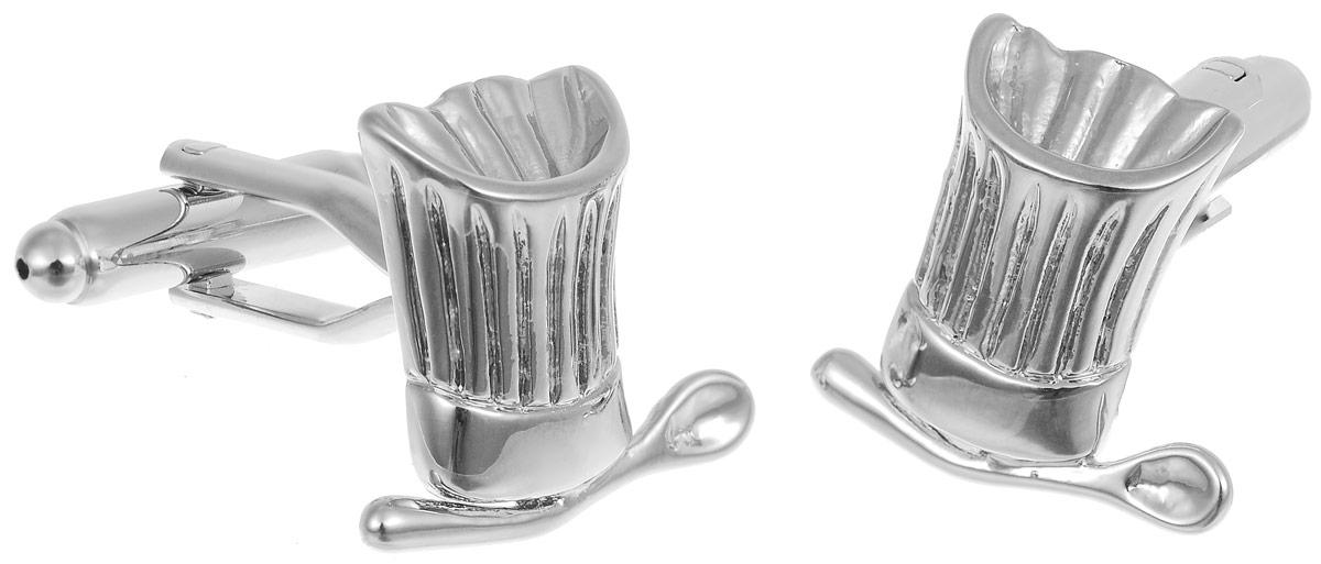 Запонки мужские Mitya Veselkov Повар, цвет: серебряный. ZAP-187ZAP-187Запонки современного дизайна Mitya Veselkov Повар изготовлены из металлического сплава. Изделие застегивается на вращающийся штырек. Данная модель представлена в виде поварского колпака и ложки. Стильный аксессуар подчеркнет ваш образ, а также придаст элегантность и неповторимость имиджу.