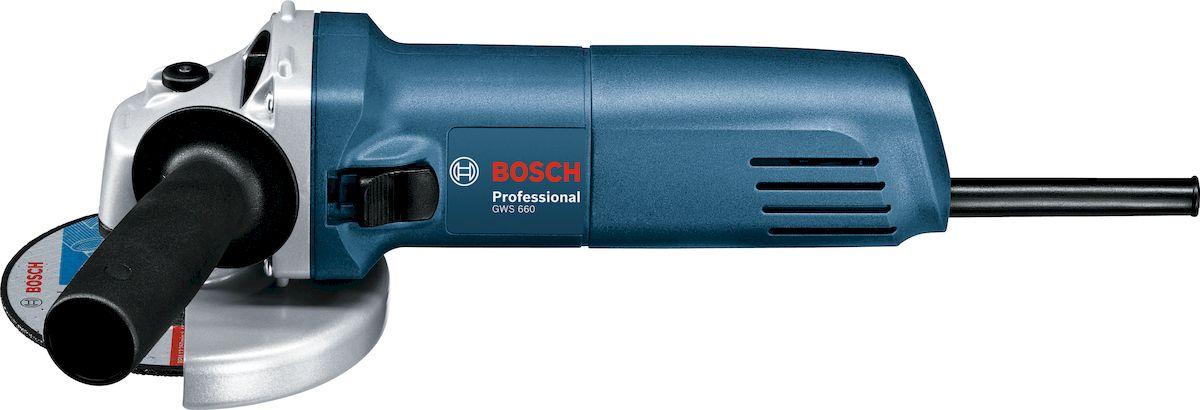 Угловая шлифмашина Bosch GWS 660. 060137508N060137508NТехнические характеристики: Номинальная потребляемая мощность: 660 W; Число оборотов холостого хода: 11000 об/мин; Выходная мощность: 390 W; Диам. круга: 125 мм Комплектация: Дополнительная рукоятка Зажимная гайка Ключ под два отверстия Защитный кожух Опорный фланец