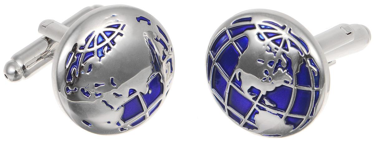 """Запонки мужские Mitya Veselkov """"Глобус"""", цвет: серебряный, синий. ZAP-278"""