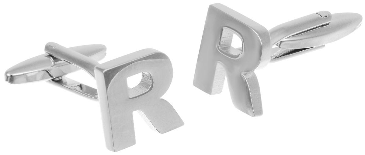 Запонки мужские Mitya Veselkov Буква R, цвет: серебряный. ZAP-190ZAP-190Запонки современного дизайна Mitya Veselkov Буква R изготовлены из металлического сплава. Изделие застегивается на вращающийся штырек. Данная модель представлена в виде английской буквы R. Стильный аксессуар подчеркнет ваш образ, а также придаст элегантность и неповторимость имиджу.
