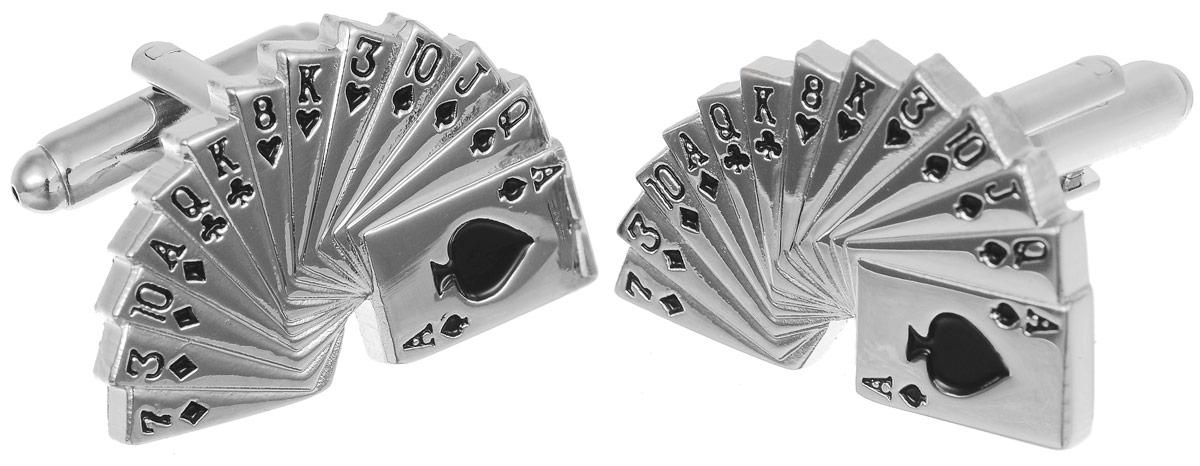 Запонки мужские Mitya Veselkov Колода Пик, цвет: серебряный. ZAP-126ZAP-126Запонки современного дизайна Mitya Veselkov Колода Пик изготовлены из металлического сплава. Изделие застегивается на вращающийся штырек. Данная модель представлен в виде развернутой колоды игральных карт масти пик. Стильный аксессуар подчеркнет ваш образ, а также придаст элегантность и неповторимость имиджу.