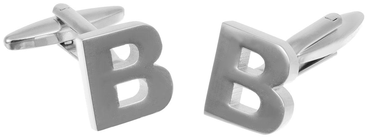 Запонки мужские Mitya Veselkov Буква B, цвет: серебряный. ZAP-256ZAP-256Запонки современного дизайна Mitya Veselkov Буква B изготовлены из металлического сплава. Изделие застегивается на вращающийся штырек. Данная модель представлена в виде буквы В. Стильный аксессуар подчеркнет ваш образ, а также придаст элегантность и неповторимость имиджу.