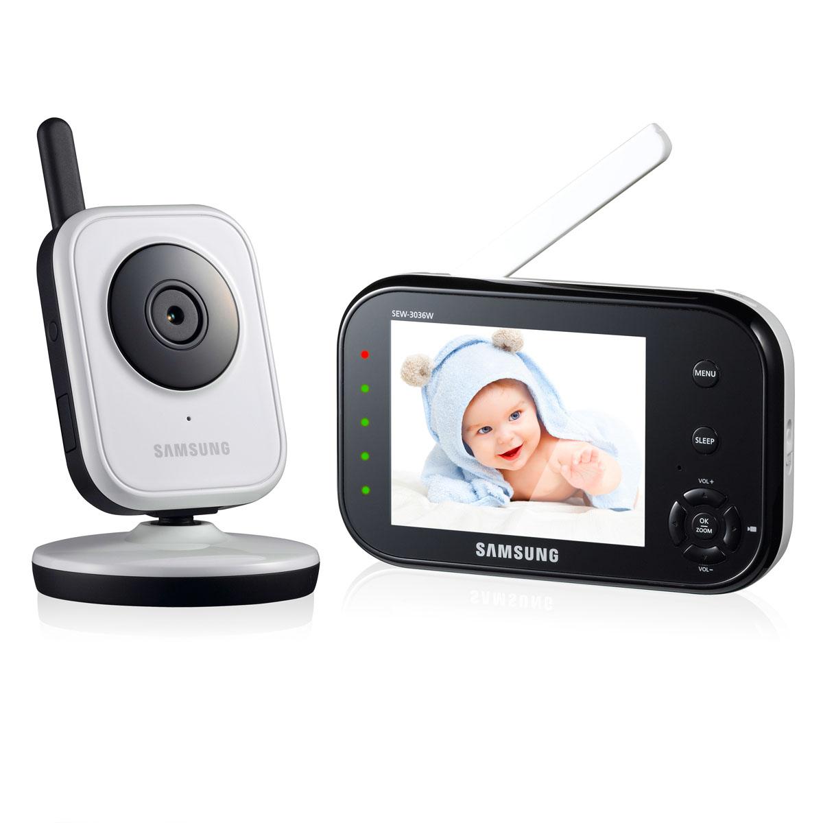 Samsung Видеоняня SEW-3036WSEW-3036WЦифровая, дальность до 250 м. Дисплей 9 см (3,5 дюймов). Двухсторонняя связь, ночное видение, VOX (активация при плаче), цифровой зум, система защиты от помех, индикатор громкости плача. Кнопка Sleep для отключения дисплея и сохранения энергии.