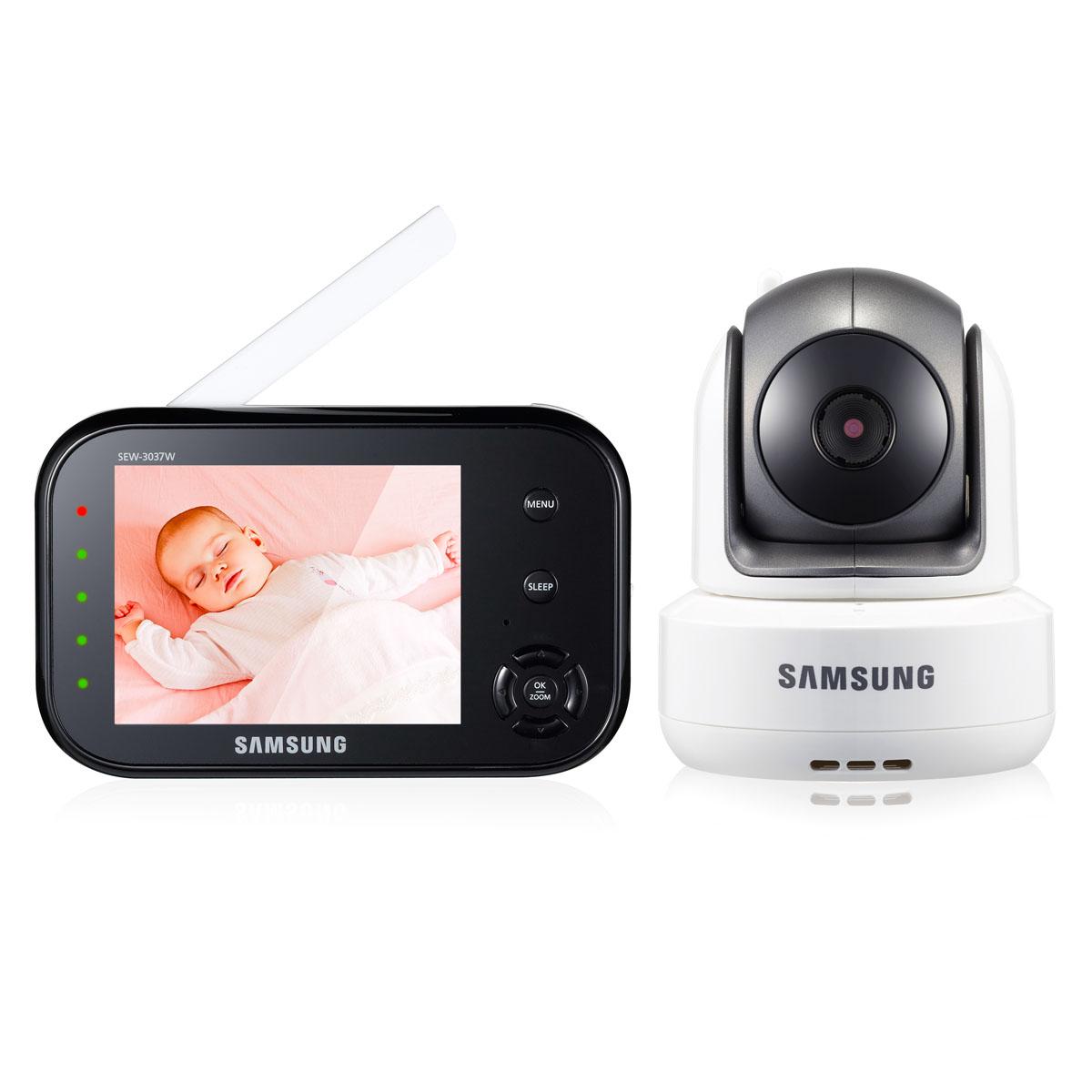 Samsung Видеоняня SEW-3037WPSEW-3037WPЦифровая, дальность до 300 м. Поворотна камера. Дисплей 9 см (3,5 дюймов). Двухсторонняя связь, ночное видение, VOX (активация при плаче), цифровой зум, система защиты от помех, индикатор громкости плача. Кнопка Sleep для отключения дисплея и сохранения энергии.