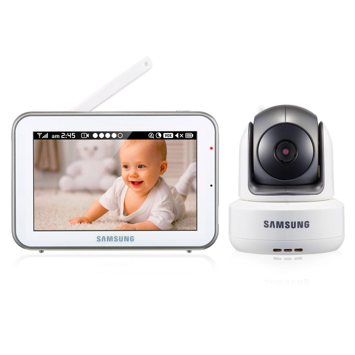 Samsung Видеоняня SEW-3043WPSEW-3043WPНовинка! Цифровая, дальность 300 м. Высокое качество изображения и звука. Камера HD 720p. Монитор 800х480px. Поворотная камера угол поворота по ширине 300 градусов, по высоте 110. Дисплей 12,7 см (5 дюймов). Сенсорный экран. Двухсторонняя связь, колыбельные, VOX, ночное видение. Подавление помех.