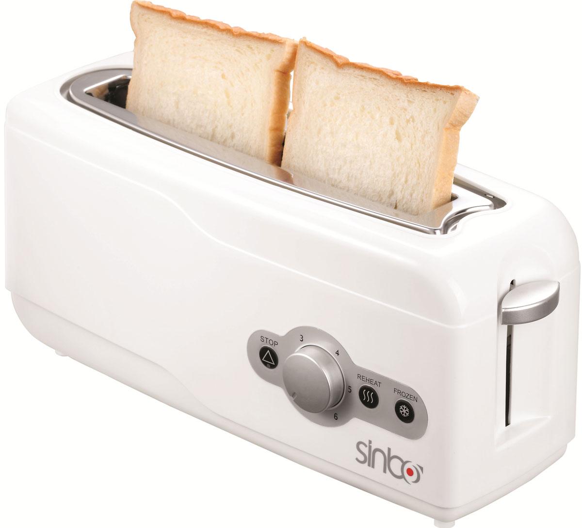 Sinbo ST 2412 тостерST 2412Тостер Sinbo ST 2412 представляет собой сочетание удобства, функциональности и элегантного внешнего вида. Мощность в 750 Вт, простота управления и быстрое приготовление тостов, дополняется возможностью регулировки степени обжарки в 6 ступеней. Компактное и легкое в управлении устройство позволит приготовить вкуснейшие тосты за считанные минуты стразу на двоих. Вы можете в любой момент остановить процесс поджаривания, просто нажав на соответствующую кнопку. Ухаживать за тостером легко и приятно благодаря наличию поддона для крошек.