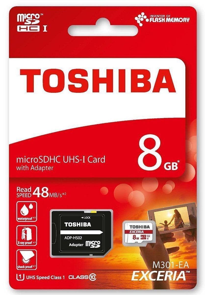 Toshiba Exceria M301 microSDHC UHS-I 8GB карта памятиTHN-M301R0080EAЗаписывайте все самое интересное на смартфон или цифровую камеру. С картой памяти Toshiba Exceria M301 вам хватит места для всех своих снимков и видео в формате Full-HD — теперь ценные воспоминания всегда будут с вами. Снимайте драгоценные моменты: Карта памяти Toshiba Exceria M301 — настоящая находка для искушенных фотографов. Огромная емкость и сверхвысокая скорость записи позволяют сохранять на ней данные в формате Full HD. SD-адаптер в комплекте: Карты памяти Toshiba M301 microSD полностью соответствуют требованиям SD Association. Адаптер обеспечивает совместимость со слотами SD и SDHC. Защитите свои данные: Функция защиты от записи, разработанная компанией Toshiba, позволяет предотвратить случайную перезапись.