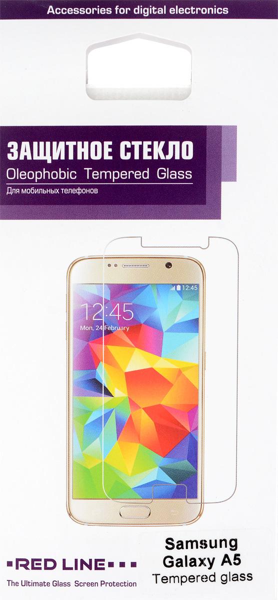 Red Line защитное стекло для Samsung Galaxy A5УТ000005916Защитное стекло Red Line для Samsung Galaxy A5 предназначено для защиты поверхности экрана от царапин, потертостей, отпечатков пальцев и прочих следов механического воздействия. Оно имеет окаймляющую загнутую мембрану, а также олеофобное покрытие. Изделие изготовлено из закаленного стекла высшей категории, с высокой чувствительностью и сцеплением с экраном.