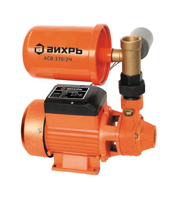 Насосная станция Вихрь АСВ-370/2Ч68/1/8Максимальное количество включений - 20 часов Допустимая концентрация твердых частиц в перекачиваемой в воде -150 г/м3 Максимальная глубина всасывания - 9 м Ток питающей сети - однофазный переменный Напряжение -220 В Частота - 50Гц Тип электродвигателя - асинхронный, однофазный с короткозамкнутым ротором Максимальный напор - 30 м Максимальная подача - 45 л/мин Потребляемый ток - 1,7 А Мощность - 370 Вт Емкость гидроаккумулятора 2 л Материал корпуса насоса - Чугун Диаметр входного патрубка -1 дюйм Диаметр выходного патрубка - 1 дюйм